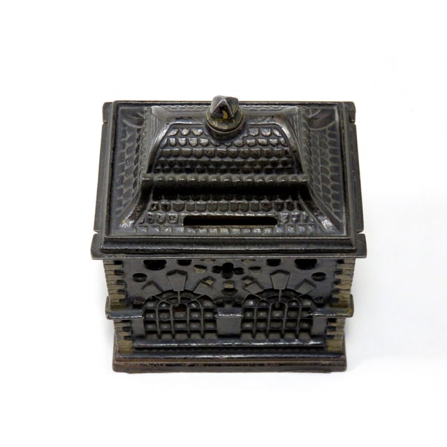 1880s Antique Cast Iron Coin Bank For Sale - Image 4 of 7