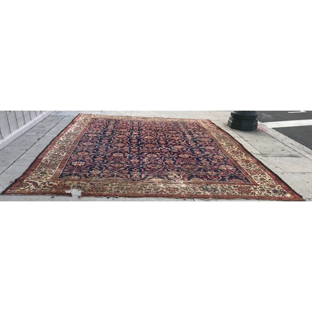 Persian Vintage Design Decorative Blue Background Color Mahal Rug- 9′5″ × 13′5″ For Sale - Image 3 of 13