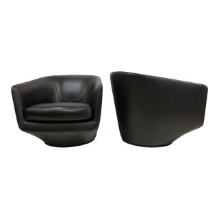 Pair Leather Swivel Lounge Chairs by Bensen For Sale
