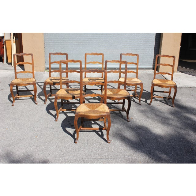 Early 20th C. Vintage French Country Rush Seat Walnut Dining Chairs - Set of 8 For Sale - Image 13 of 13