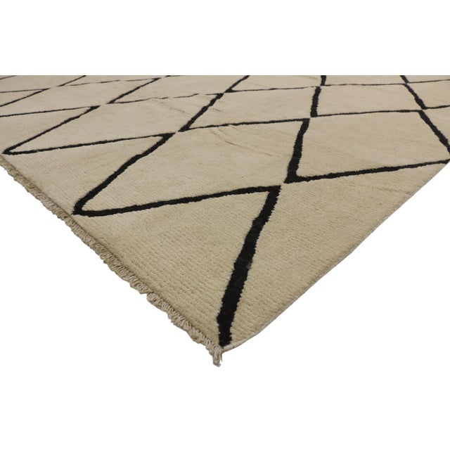 New Contemporary Moroccan Area Rug with Modern Style 10'02 x 13'05. This hand knotted wool contemporary Moroccan area rug...