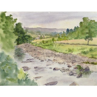 M. Powell, English Watercolor - Countryside Winding Creek For Sale