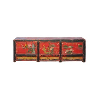 Chinese Distressed Red Flower Graphic Low Tv Console Cabinet For Sale