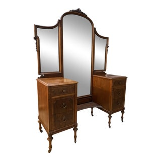 1920s Early Widdicomb Vanity Dresser Table With Tri-Fold Mirror For Sale