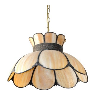 Vintage Slag Bronze Brass Smoky Glass Pendant Lamp