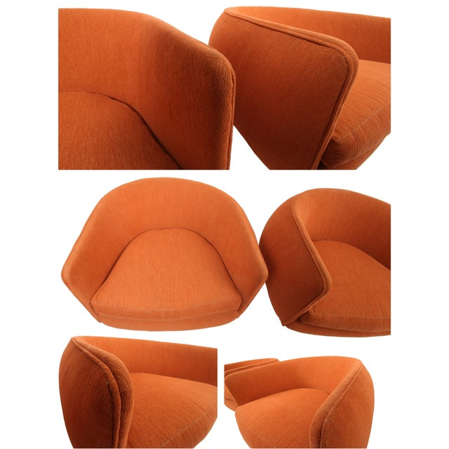 Orange Vintage Swiveling Lounge Chair Pair - Milo Baughman, Adrian Pearsall Style - Original Vintage Design With Newer Fabric - Earthy Orange For Sale - Image 8 of 11