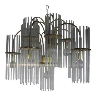 Gaetano Sciolari Crystal and Brass Chandelier For Sale