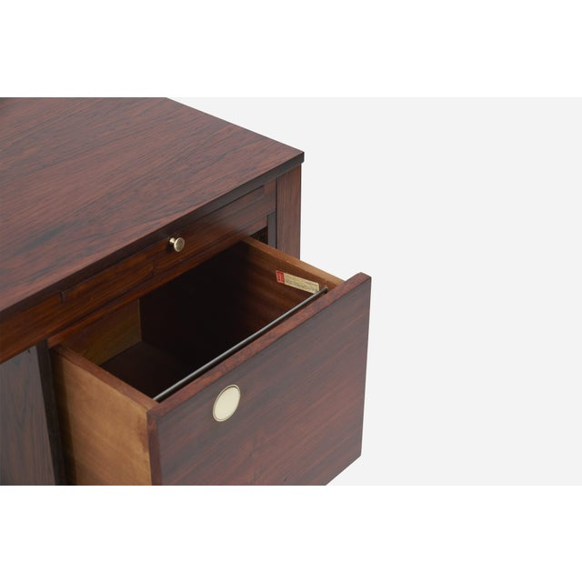 Gold Rosewood Desk With Brass Pulls, Denmark, 1960s For Sale - Image 8 of 8
