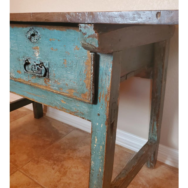 Turquoise Rustic 19th Centuy Spanish Distressed Painted Table For Sale - Image 8 of 13