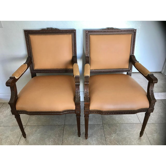 Vintage French Louis XVI Style Leather/Nailhead Chair- a Pair For Sale - Image 9 of 9
