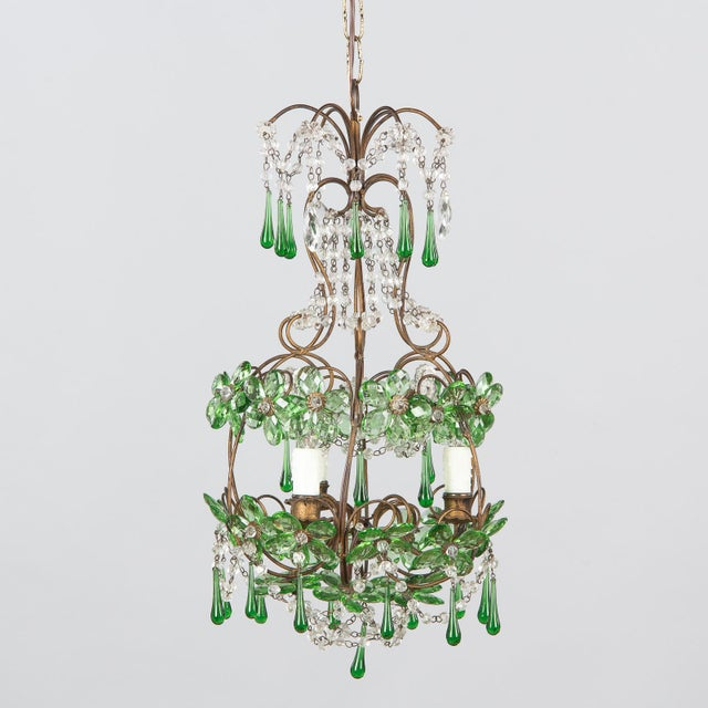 1920s French Green Glass and Crystal Chandelier For Sale - Image 13 of 13