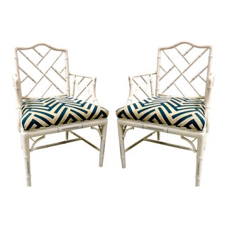 Pair of Faux Bamboo Arm Chairs