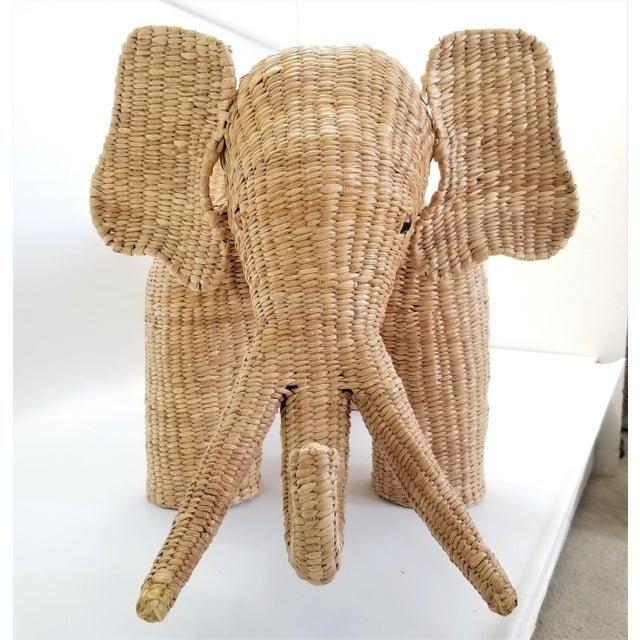 Beige Mario Lopez Torres Elephant Bench - Signed 1974 -- Palm Beach Boho Chic Mid Century Modern Wicker Seagrass Animal For Sale - Image 8 of 13