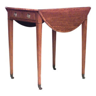 English Georgian Marquetry, Satinwood Pembroke Table For Sale