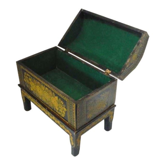 Antique Ebonized Hand-Painted Mexican Wedding Trunk For Sale