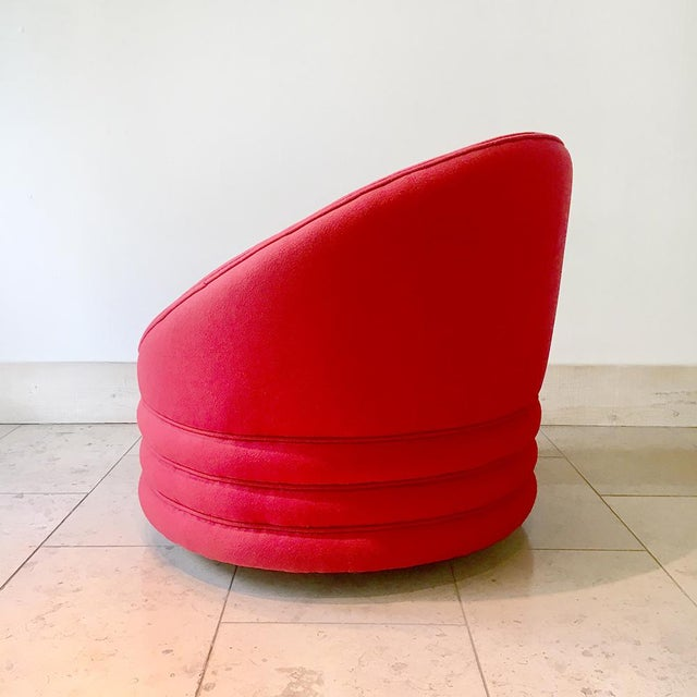 A Single Wool Upholstered Swivel Armchair 1980s For Sale - Image 4 of 6