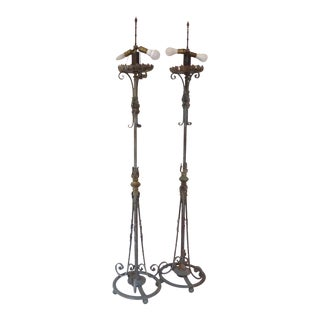 Antique French Iron Torchiere Lamps - a Pair For Sale