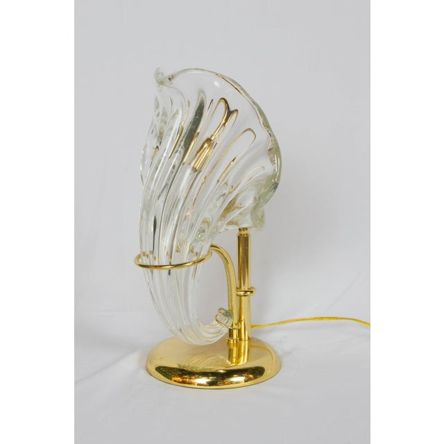 1980s Italian Blown Glass and Gold Sculptural Lamp For Sale - Image 5 of 5