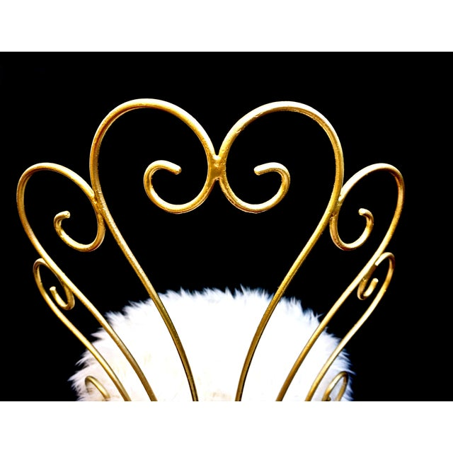 Gold Vintage Hollywood Regency Gold Iron & Faux Fur Vanity Chair For Sale - Image 8 of 10