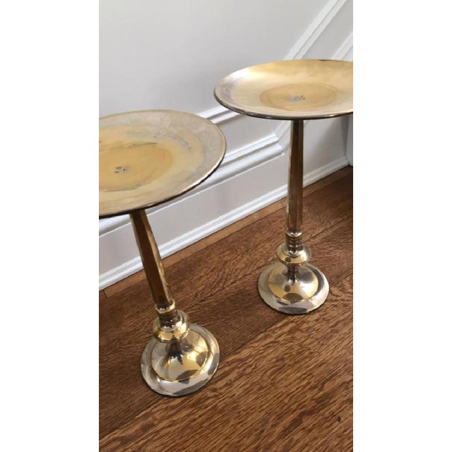 Shabby Chic Silver Brass Plated Floor Candlestands - A Pair For Sale - Image 3 of 5