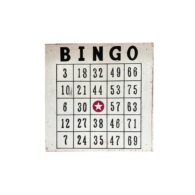 "Vintage 48"" / 4 Ft Wood Distressed Hand Painted Bingo Card Sign For Sale In Philadelphia - Image 6 of 6"