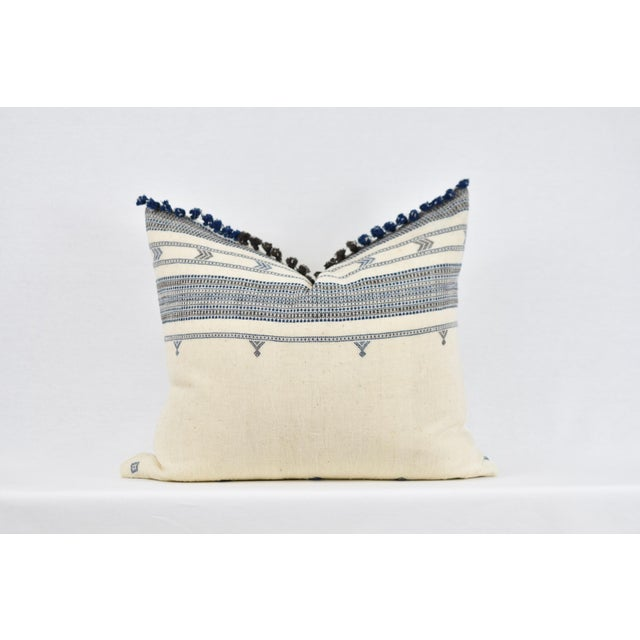 Boho Chic Blue and Brown Tassle Pillow For Sale - Image 4 of 4