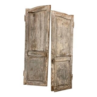 19th Century French Antique Chippy Paint Doors With Hardware - a Pair For Sale