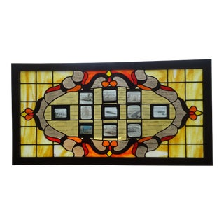 Antique Stained Glass Hanging Window Panel For Sale