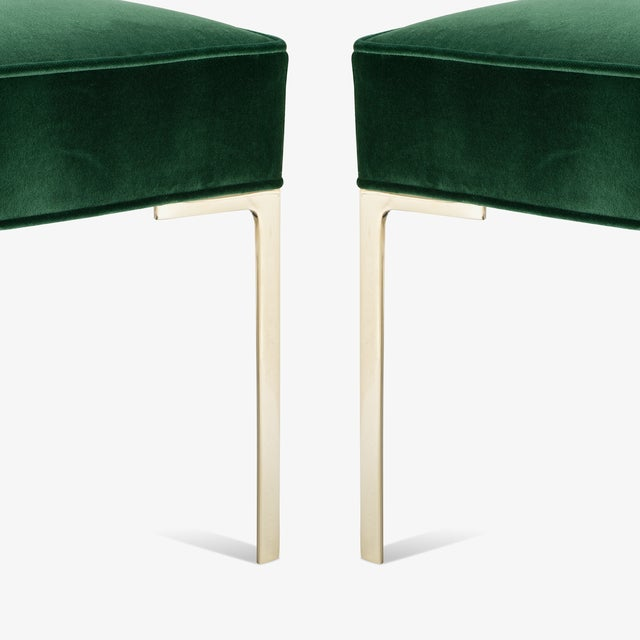 Metal Astor Square Brass Ottomans in Emerald Velvet by Montage, Pair For Sale - Image 7 of 8
