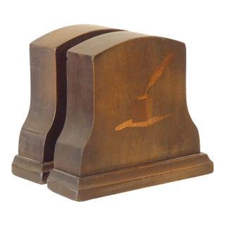 Vintage Arts & Crafts Wooden Bookends For Sale
