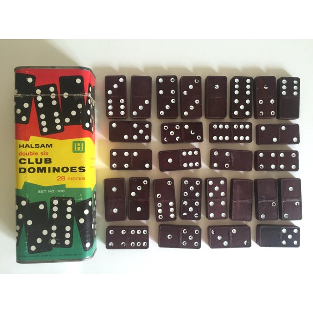 "1950s Vintage Mid-Century 1950's Halsam "" Double 6 Club "" Dominoes Game Box Set For Sale - Image 5 of 5"