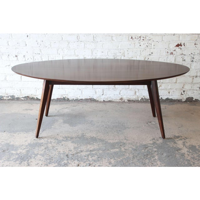 Mid-Century Modern Knoll Walnut Eliptical Dining or Conference Table For Sale - Image 3 of 10