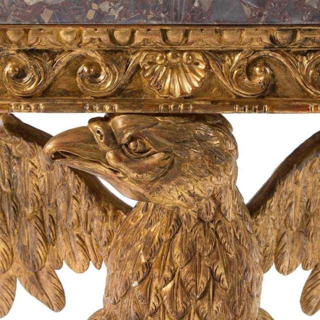 Mid-Century Modern George II Style Carved Gilt Wood Eagle Console For Sale - Image 3 of 5