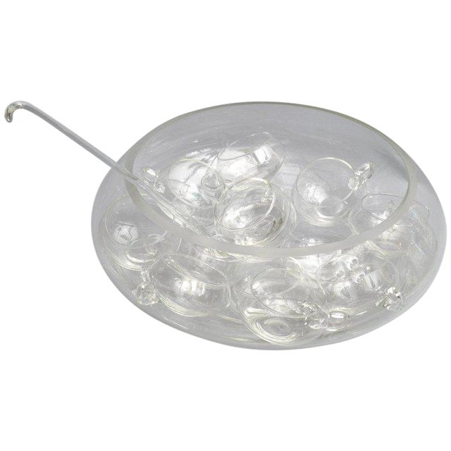 Cut Glass Punch Bowl Set of 14 From Italy For Sale
