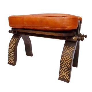 Orange Leather Moroccan Footstool For Sale
