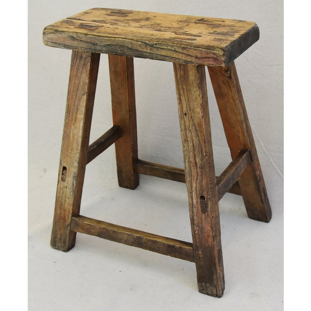 Rustic Primitive Country Wood Farmhouse Stool For Sale - Image 4 of 11