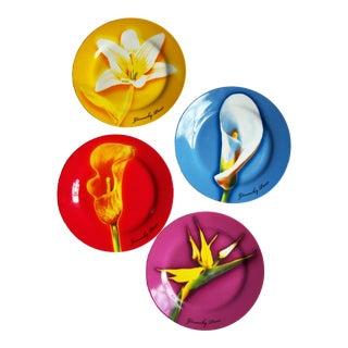 Vintage Colorful Givenchy Porcelain Les Fleurs Salad/Dessert Plates - Set of 4 For Sale