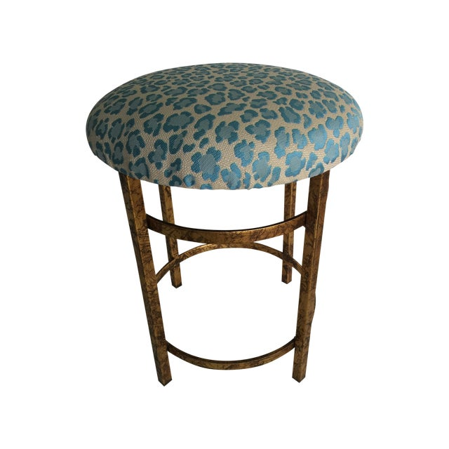 Gold Leopard Fabric Stool - Image 1 of 4