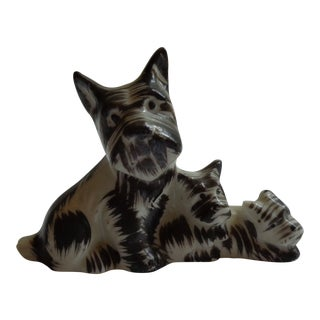 Mid-Century Porcelain Scottish Terrier Dog and Pups Figurine For Sale