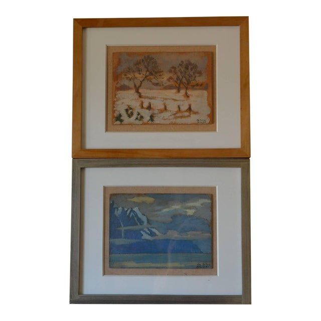 Rare Pair of Framed Oil Paintings by Ivan Da Silva Bruhns For Sale