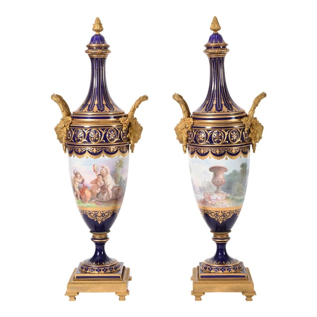Early 19th Century Bronze Mounted Porcelain Urns - a Pair For Sale