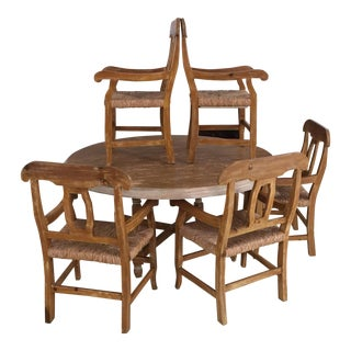 Vintage French Farm Table& Rush Seat Chairs - Set of 6