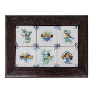 Antique Dutch Delft Framed Birds & Fruit Tiles - Set of 6 For Sale