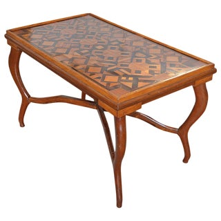 Early 20th Century Antique American Folk Art Parquetry Occasional Table For Sale