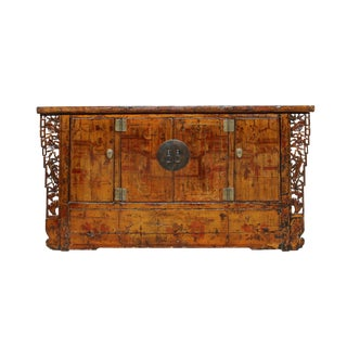 Chinese Distressed Light Yellow Brown Graphic Tall Credenza Cabinet For Sale