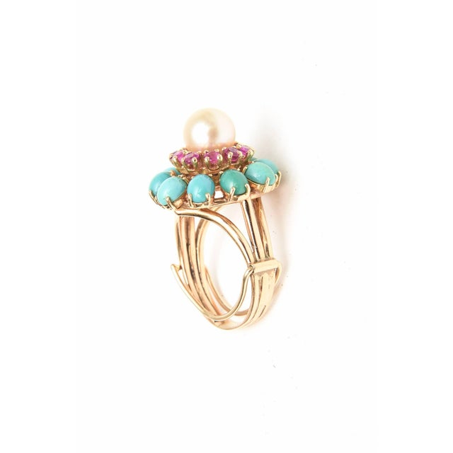 Ruby, Pearl, Turquoise and 14 Karat Yellow Gold Dome Cocktail Ring For Sale In Miami - Image 6 of 8