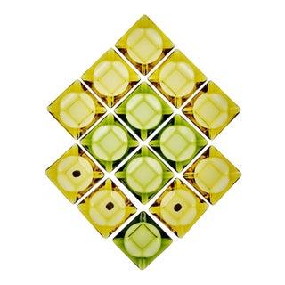 Vintage Nos Anchor Hocking Avocado Green & Honey Gold Glass Ashtrays - Set of 14 For Sale