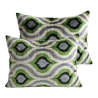 Silk Velvet Pillows - A Pair For Sale