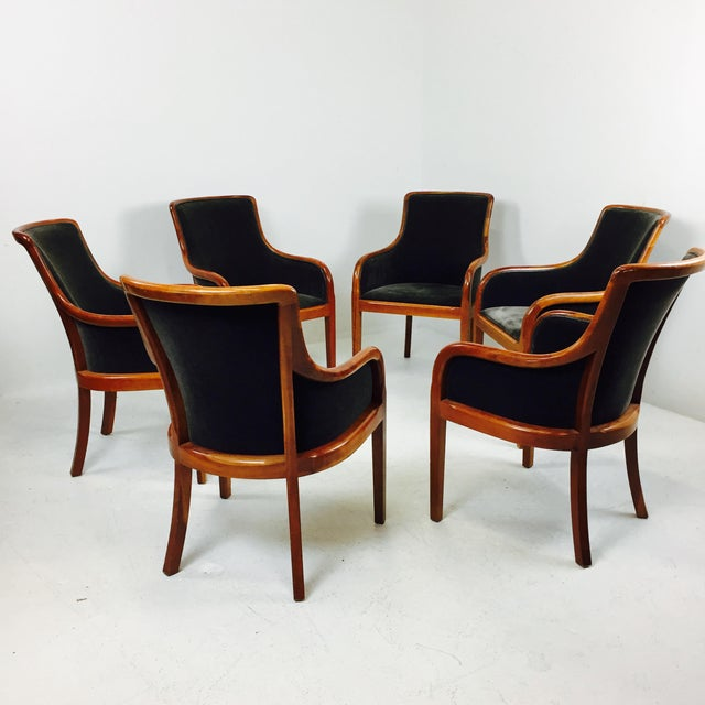 Transitional Mohair & Cherry Wood Zographas Chairs - A Pair - Image 6 of 8