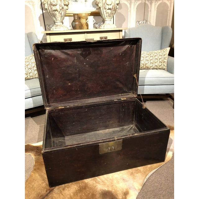 19th Century Chinese Leather Trunk For Sale - Image 10 of 13
